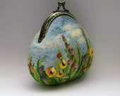 Coin Purse Change Purse Needle Felted Pouch Embroidery Small Bag Keychain Make Up Purse Gift for Her