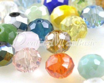 72Pcs 10x8mm Assorted Rondelle Crystal Beads Center Drilled 1.2mm DIY Jewelry CR0406