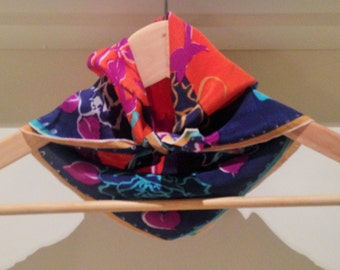 100% silk  vintage Japanese scarf in a floral print of blues, purples and oranges from the 1960s, retro, mod, pretty