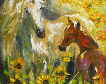 Horse wall art, Giclee art print, Oil painting print, Sunflower field, Animals, Horse print, Modern artwork, Wall art decor, 8 X 10 print