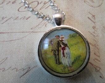 art glass pendant, romance pendant, art print pendant, silver pendant,