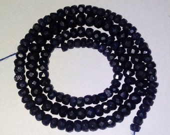 Gorgeous Sapphire Corundum Faceted Roundel Gemstone Beads 2.5-5mm AAA 14 Inch