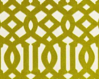 SCHUMACHER  Kelly WEARSTLER Chinoiserie Imperial Trellis Cut VELVET Fabric 10 yards Chartreuse