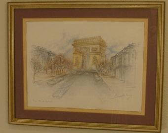 """Artist Burnadeta Coy Print, Paris Arch, 20""""x16"""" Framed, Glass, Double Matted Signed"""