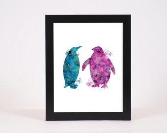 Purple and Blue Water Color Penguin art print, Printable Poster, Penguin Poster, wall decor, digital print, INSTANT DOWNLOAD, Wall Art print
