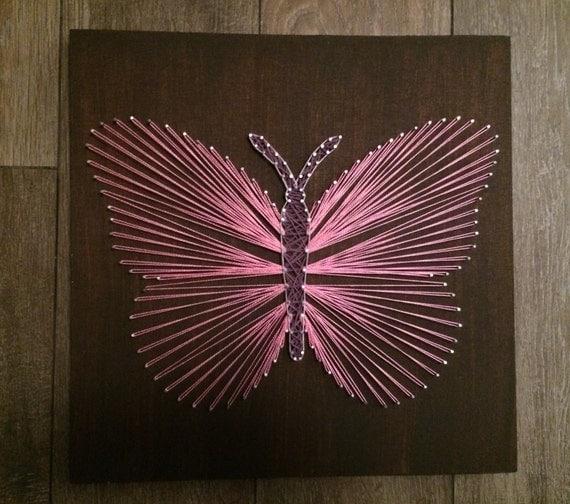 Items similar to unique handmade string art pink - String art vorlagen kostenlos ...