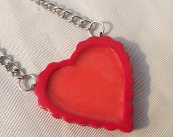 18'' polymer clay heart pendant necklace