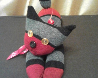 Hand crafted sock cat. Different colors available, made to order