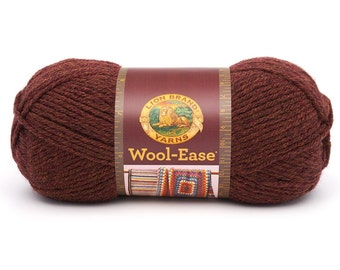 Yarn - Lion Brand Wool Ease - Chestnut Heather, Natural Heather or Blue Mist