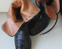 Vintage boots, Black leather combat boots, motorcycle ankle boots, EU size 38