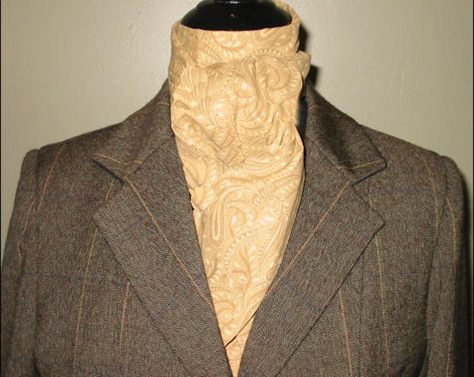 Cream Tan on Tan  Paisley Stock Tie
