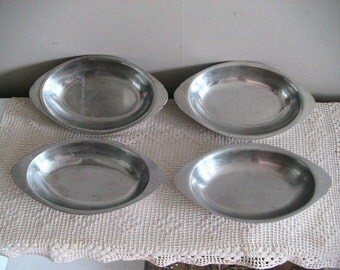 Vintage Stainless Steel Dishes Retro Casserole Four Shabby Chic Kitch Kitchen December Dining Holiday Gift