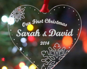 Personalised Christmas Tree Decoration Our First Christmas Heart Bauble Gift