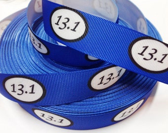 7/8 inch 13.1 Marathon on Royal Blue Run Running Runner Mile  Sports Printed Grosgrain Ribbon for Hair Bow