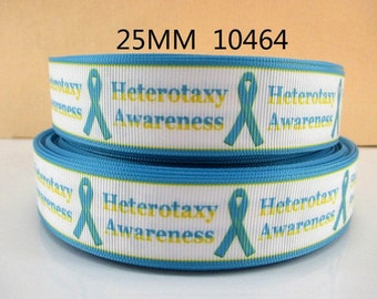 1 inch Heterotaxy Awareness on White - Printed Grosgrain Ribbon for Hair Bow