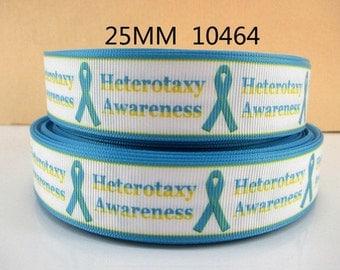 1 inch Heterotaxy Awareness on White - Printed Grosgrain Ribbon for Hair Bow