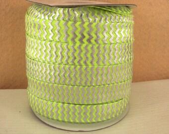 5/8 inch - Silver Chevron on Neon Lemon - Fold Over Elastic FOE for Headband