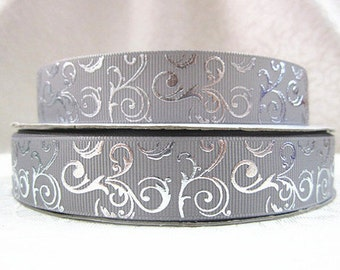 7/8 inch Silver Vines On Gray Grey - Filigree Damask Printed Grosgrain Ribbon for Hair Bow