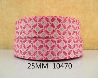 1 inch Pink Flowers On Diamond Pattern 10470- Printed Grosgrain Ribbon for Hair Bow
