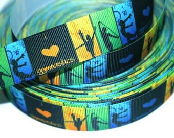 7/8 inch Gymnastics - Blue, Lime, Yellow Blocks Printed Grosgrain Ribbon for Hair Bow