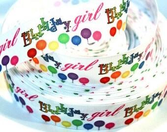 1 inch Birthday Girl - Balloons on White - Printed Grosgrain Ribbon for Hair Bow