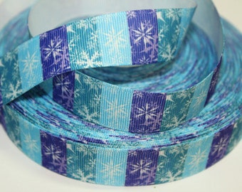 7/8 inch - SNOWFLAKES ICICLES on Block Design Frozen - S765 - Printed Grosgrain Ribbon for Hair Bow