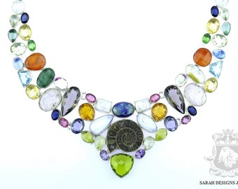 Mix of Colors! AMMONITE Pearl EMERALD AMETHYST Peridot Citrine 925 Solid Sterling Silver Necklace n314