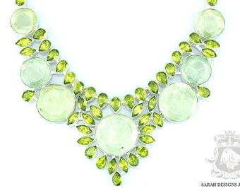 LARGE Size! PREHNITE PERIDOT 925 Solid Sterling Silver Necklace  N335