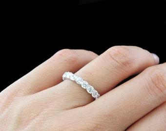 1.86ct F/G VS2/SI1 Diamond FULL Eternity U-Shaped Ring 14kt White Gold Wedding Band Round Diamonds Anniversary Ring
