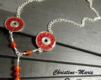 Red - Orange and Silver Necklace