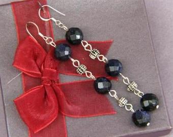 Earrings 3X Blue Gold Stone 10mm Facet Round Beads 925 ESBG1754