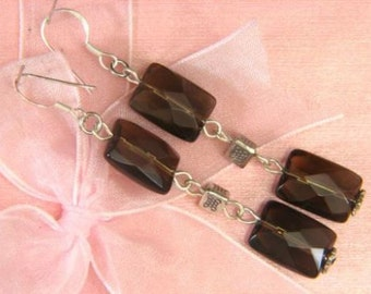 Earrings Smokey Quartz 2X 14mm Facet Pillow 925 ESSQ1846