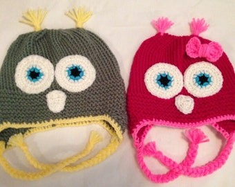 Knit custom owl hat