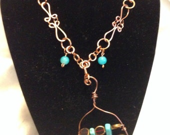 Copper necklace with turquoise beads- Native American Style