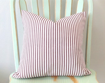 Decorative Pillow Cover. Marsala Ticking Stripe. Throw Pillow Cover. Pillow Sham.