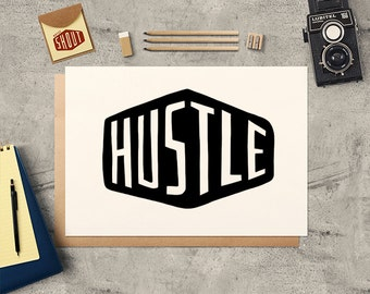 HUSTLE, Typography, Hand Lettering, Office Decor, Hustle Poster, Inspirational Print, Inspirational Quote, Motivational Art, Typography