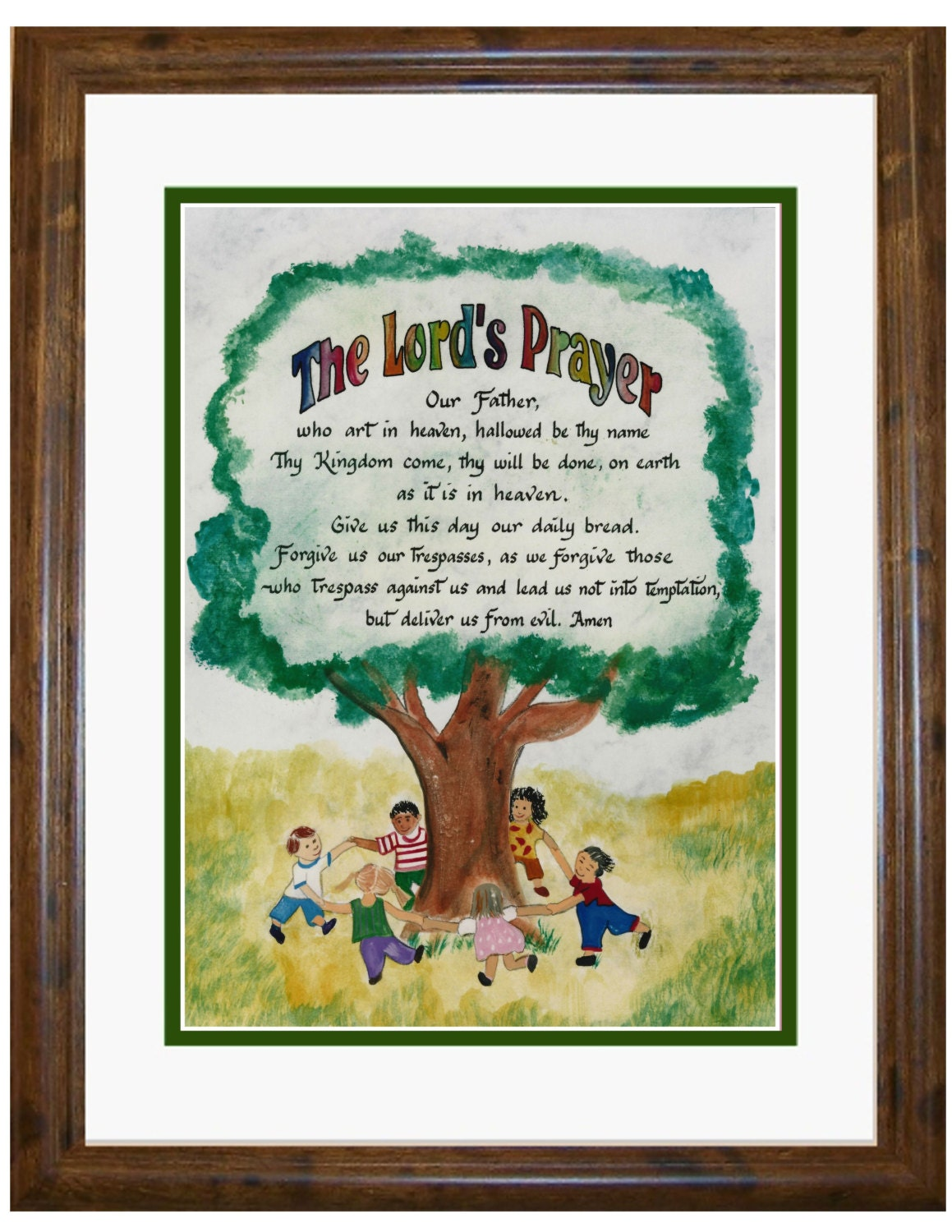 childrens lords prayer calligraphy and art picture