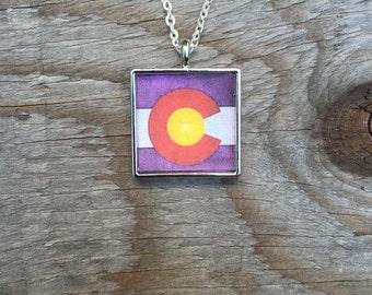 Colorado Flag Pendant Necklace