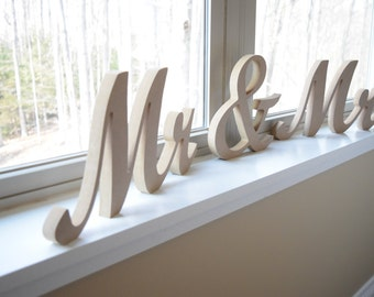 "MR & MRS wedding sweetheart table letters - 6"" ready to paint or decorate. mr and mrs Wedding, reception decor, Ready To Ship"