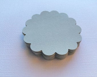 25 Grey Scallop Circles, Paper Die Cuts, Punches - 2""
