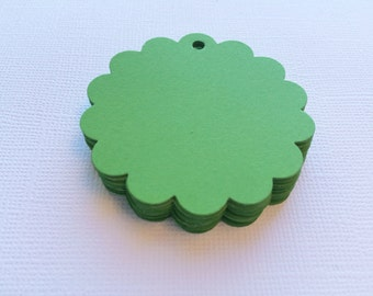 25 Lime Green Scallop Circle Hang Tags, Gift Tags, Party Favor - 2""