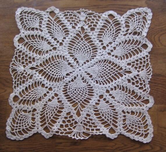 vintage 12 pouces carr 233 ecru ananas fait du crochet napperon