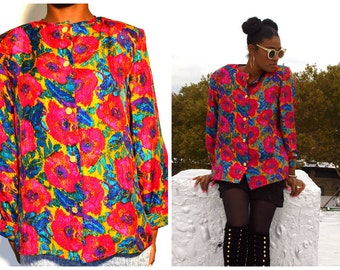 vintage silk blouse/ vintage top/ vintage floral blouse/ Vintage blouse/ Size M