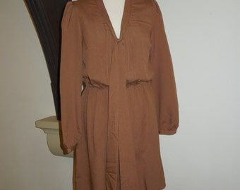 Vintage bronze shirt dress with tie detail to front (size M)