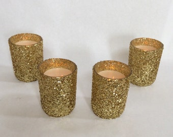 12 Gold Glitter Votive Holders - custom candle holders