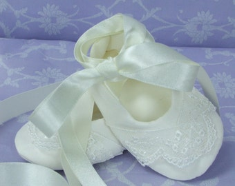 Lace and Silk Christening Bootie by Okika made in England