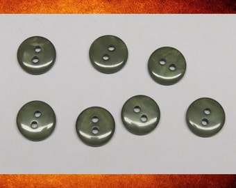 Buttons - 7 Pearlized Olive Green Small Round Buttons for sewing and crafts. BUT-057