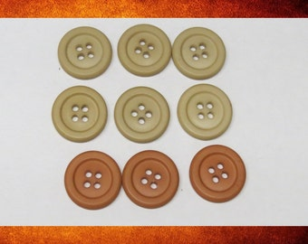 Buttons - Beige Tan and Terracotta Orange. 9 Assorted Matte Round Buttons for sewing and crafts. BUT-074