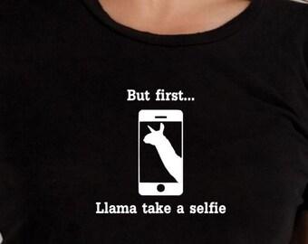 Llama selfie TShirt, funny Tshirt, statement shirt, graphic tee, gifts under 20, ladies shirt, mens T shirt, Llama shirt, pun shirt