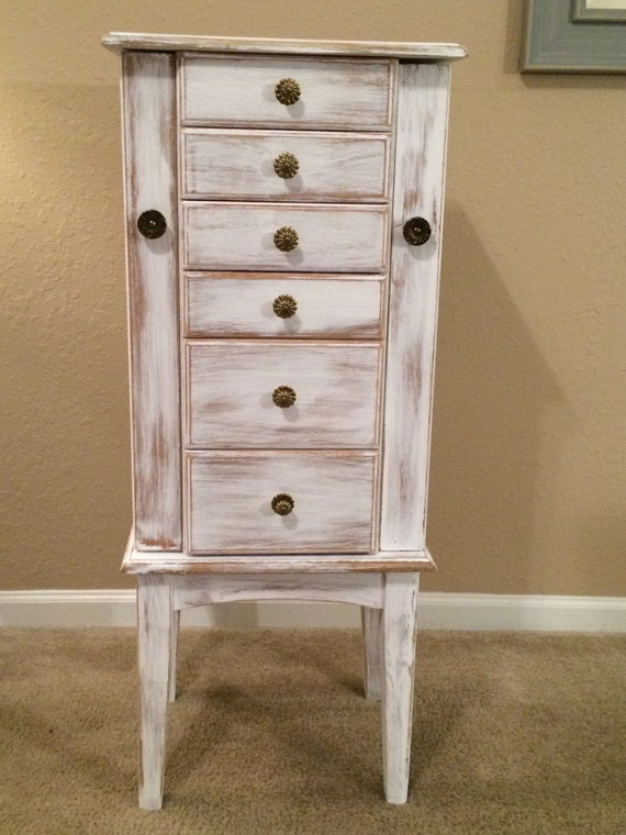 Large Shabby Distressed Jewelry Armoire Cottage Chic Painted